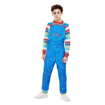 Chucky Kostüm Kinder Blau mit Latzhose und Oberteil Kinderkostüm