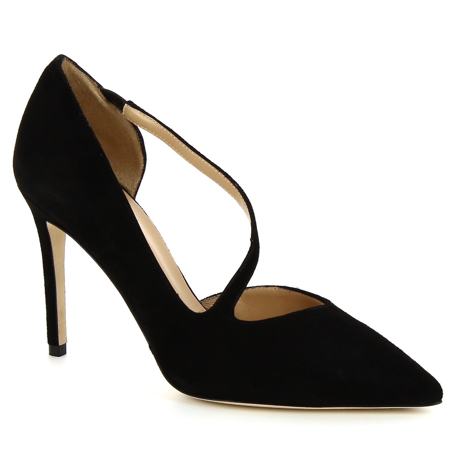 Leonardo Shoes Women's handmade classic pumps shoes in black suede leather I22WW