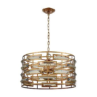 Gold metro crystal 5-light chandelier