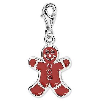 925 Sterling Silver Rhodium plated Fancy Lobster Closure Enamel Gingerbread Man With Lobster Clasp Charm Pendant Necklac
