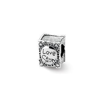 925 sterling sølv antikke finish refleksioner kærlighedshistorie bog perle charme