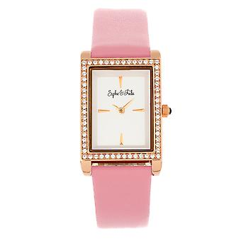 Sophie et Freda Wilmington Leather-Band Watch w/Swarovski Crystals - Pink