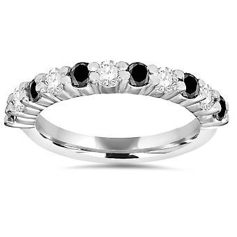 5 / 8CT svart & vit diamant förlovningsring 14K vitguld