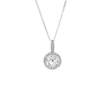 Eternity Sterling sølv Round cubic zirconia Halo anheng og 18 ' ' Chain