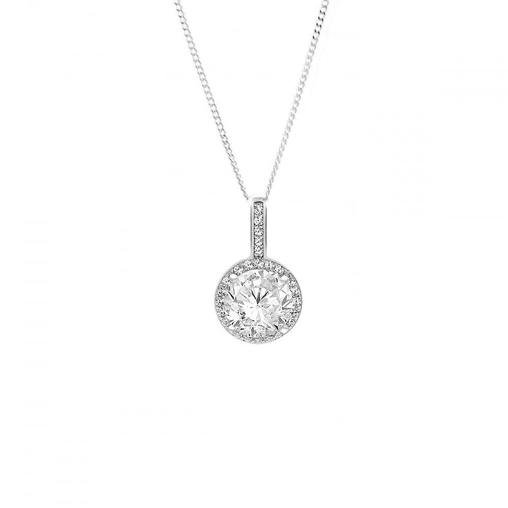 Eternity Sterling Silver Round Cubic Zirconia Halo Pendant And 18'' Chain
