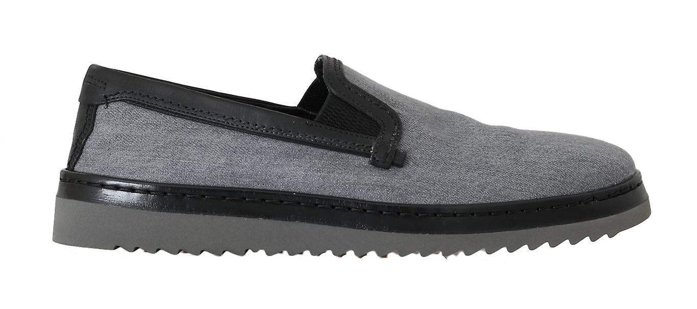 Gray Black Cotton Leather Loafers