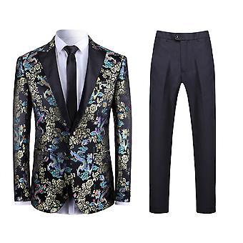 Alle Themen Men's 2-teilige Anzüge Drachen Muster Hochzeit Business Casual Blazer & Hose