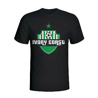 Costa do Marfim país logo T-shirt (preto)