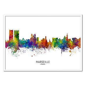 Art-Poster-Marseille Frankrijk skyline (gekleurde versie)-Michael Tompsett 50 x 70 cm