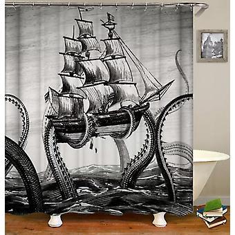 Kraken on halkeilua laivan suihku verho