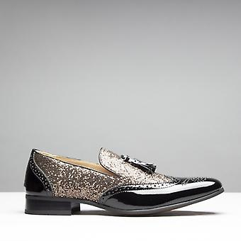 Mister Carlo Lincoln Mens Sequined Brogue Loafers Black/gold