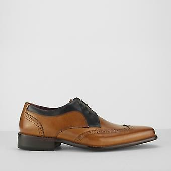 Azor Sardinia Mens Leather Derby Brogues Tan/navy