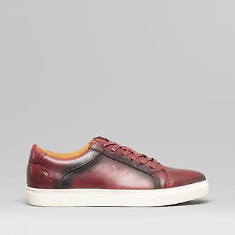 Chatham Jetty Mens Leather Casual Trainers Bordeaux