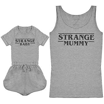 Strange Baby & Strange Mummy - Baby Playsuit & Women's Tank Top