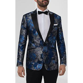 Dobell Mens Blue Floral Jacquard Smoking Jacket Regular Fit Contrast Peak Lapel
