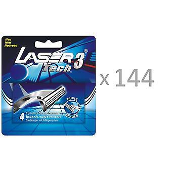 Cartucce all'ingrosso 144 x 4 confezioni Razor Blade per Laser Tech3, adatta con rasoio Gillette Sensor 3