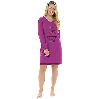 Ladies 100% Cotton Be A Little Wild Print Nightdress Sleepwear