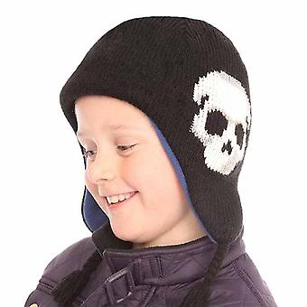 New Kids Boys Knitted Skull Peru Style Beanie Warm Thermal Winter Hat C203 Black