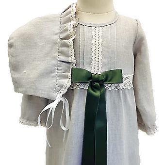 Dopklänning Och Dophätta I Lin, Mörk Grön Rosett.  Grace Of Sweden