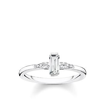 Thomas Sabo Sterling Silver Thomas Sabo White Baguette Cut Zirconia Ring TR2266-051-14