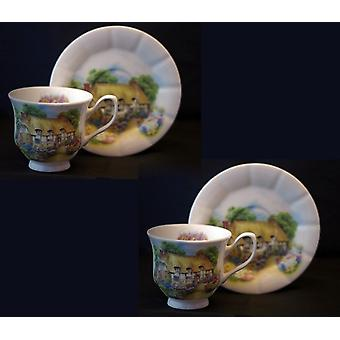 English Bone China set of 2 teacups and saucers