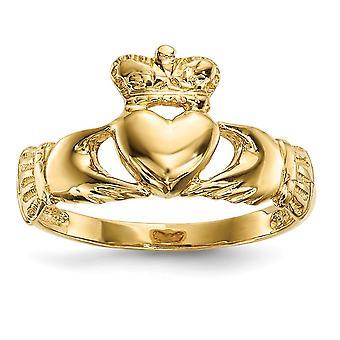 14 k poliert Claddagh Ring Schmuck Geschenke für Frauen - 2,6 Gramm