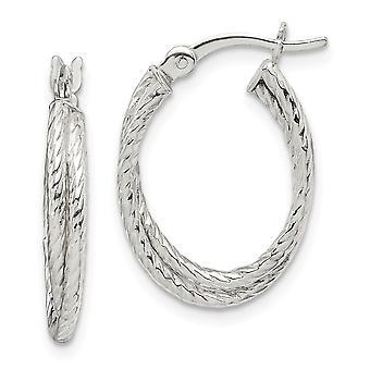 925 Sterling Silver Twisted Hoop Boucles d'oreilles Bijoux Cadeaux pour les femmes - 1,7 Grammes