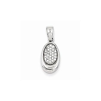 925 Sterling Silver Polished Rhodium plated Rhodium Plated CZ Cubic Zirconia Simulated Diamond Oval Pendant Necklace Jew