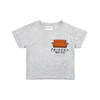 Friends Embroidered Central Perk Couch Girl's Cropped Grey T-Shirt