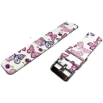 Silicone rubber watch strap butterfly pattern 22mm with quick release spring bar