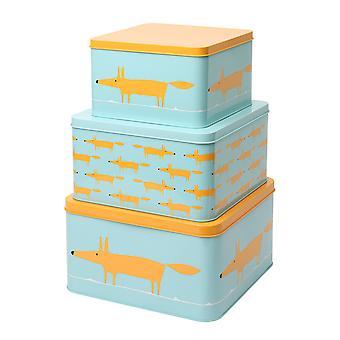 Scion Mr Fox Set of 3 Square Cake Tins, Blue