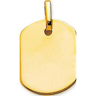 Pendentif Plaque tonneau PM Or 375/1000 jaune  (9K)