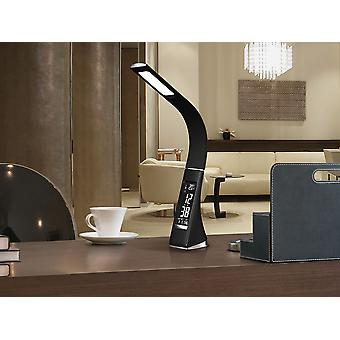 Schuller Alive - LED desk table lamp, made of ABS and rubber in black colour, leather texture with seams. Flexible arm. Adjustable intensity. VA screen with time, alarm, calendar and thermometer. Plug type G (UK). 5000K colour temperature. 5W LED. 200 lm. - 468227UK