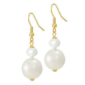 Eternal Collection Triumphant Shell Pearl And Crystal Gold Tone Drop Pierced Earrings
