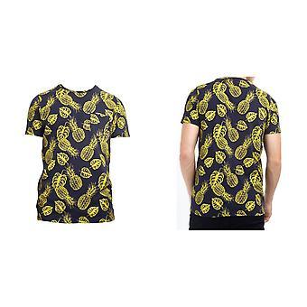 Tapfere Seele Herren Ananas Print Rundhals-T-Shirt