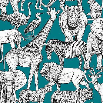 Jungle Animals Wallpaper Green Graham and Brown 107692