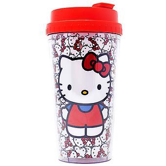 Hello Kitty 16 unse dobbel vegg plast reise krus