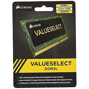 Corsair CMSO4GX3M1C1333C9 Value Select 4 GB Memory Module, DDR3L, 1333 MHz, CL9, SODIMM, Black