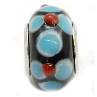 TOC BEADZ Blue & Red Flower 9mm Glass Slide-On Bead