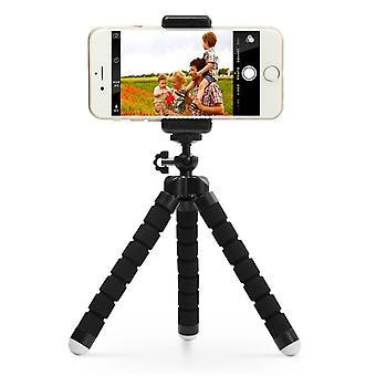 Kolmijalka-taitettava kolmijalkainen jalusta, jossa kaukosäädin mobiililaitteille ja kameralle