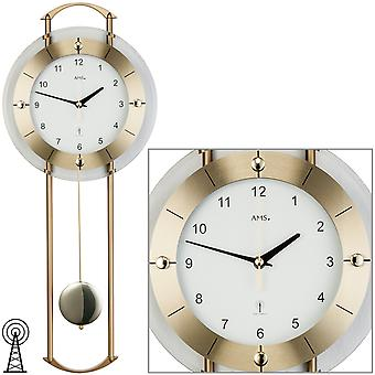 AMS 5255 Wall clock radio radio wall clock with pendulum brass colors pendulum clock with glass