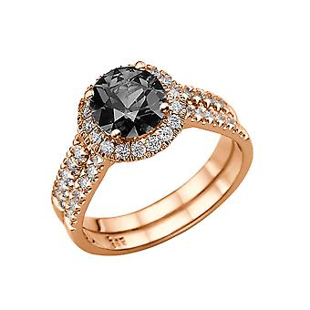 1.50 quilates diamante negro anillo 14K oro rosa Halo doble caña Natural