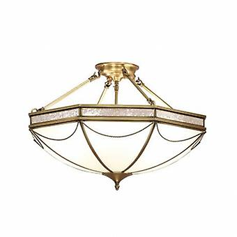 8 Light Semi Flush Ceiling Light Antique Brass, Frosted Glass
