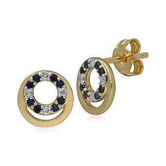 Classic Sapphire & Diamond Circle Stud Earrings in 9ct Yellow Gold 135E1543019
