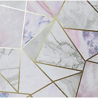 Fragments Multicoloured Wallpaper Metallic Marble Geometric Arthouse