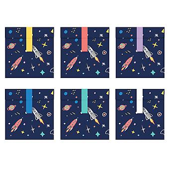 6 Space Party Impreso Paper Party Treat Bags con Sellos de Pegatinas