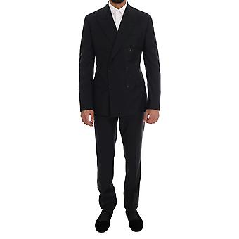 Dolce & Gabbana Blue Wool Double Breasted SICILIA Suit
