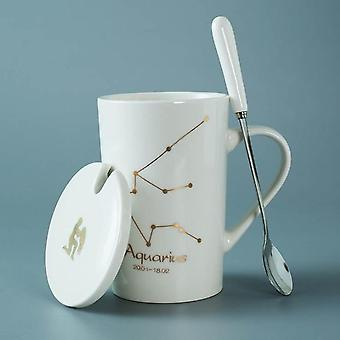 Ceramic Mugs 12 Constellations Creative Mugs With Spoon Lid Black And Gold