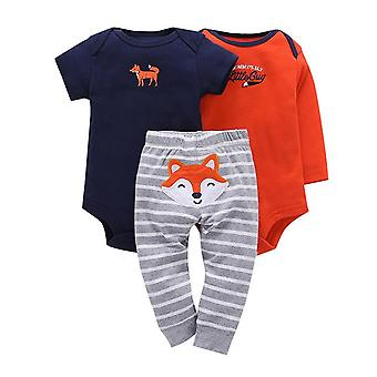 3Pcs Baby Outfit,Bodysuit, Top And Pants -Foxes