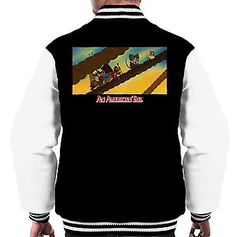 An American Tail Fievel And Family On Rope Men's Varsity Jacket
